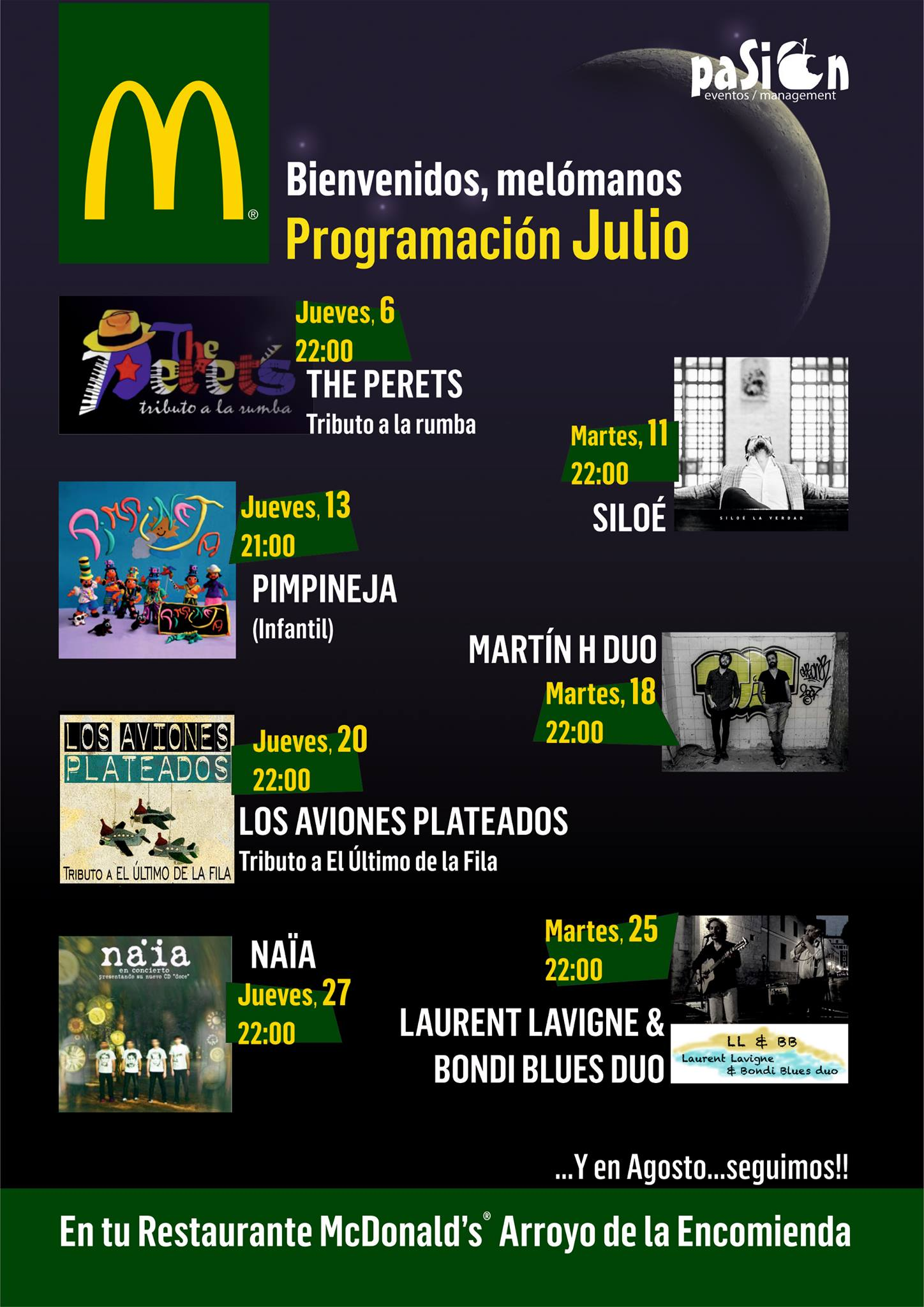 Cartel de conciertos - Mc Donals - Julio