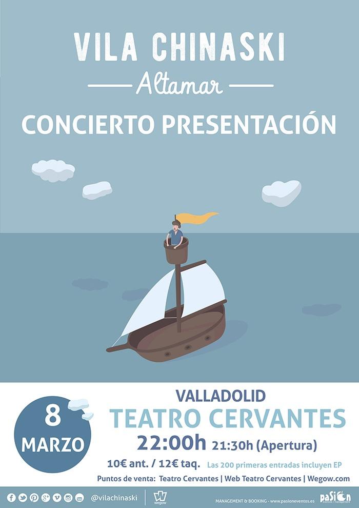 Cartel del concierto de Vila Chinaski presentando Altamar en Valladolid